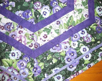 Purple Pansy Quilted Table Topper