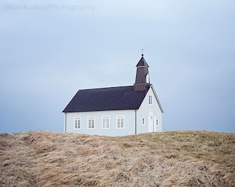 Iceland Photograph, Church Photograph, Minimalist Modern, Travel Photography, Strandakirkja, Modern Photo, Wall Art, Rustic, Iceland Church