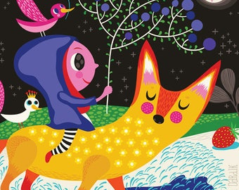 Moonlight Walk - limited edition giclee print of an original illustration (8 x 10 in)