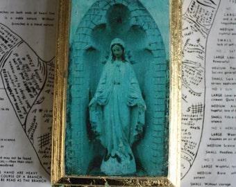 Original, Miniature, Art, Emerald, Blue, Mary, Oval, Wood, Icon, Gold