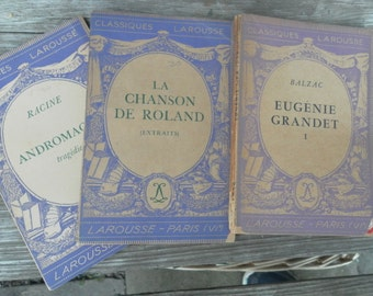 Trio of French LaRousse Classiques purple softcovers 1930s