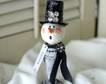 Vintage Distressed Silver Plate Shaker Snowman Holiday Decoration Fa La La La