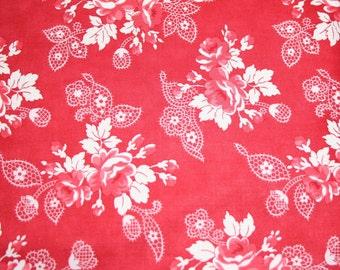 Moda Miss Scarlet  Yardage Red Floral End of Bolt Sale
