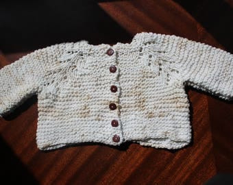 Handmade Knit with soft 100% cotton Baby cardigan sweater/Hand knit baby sweater /baby cardigan - +9months baby sweater - 17-19 lb.