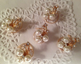 Bridal Rhinestones and Pearls Hair Swirls Spins Spirals Twists Spin Pins Bridesmaids
