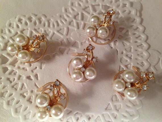 Bridal Rhinestones and Pearls Hair Swirls Spins Spirals Twists Spin Pins Bridesmaids