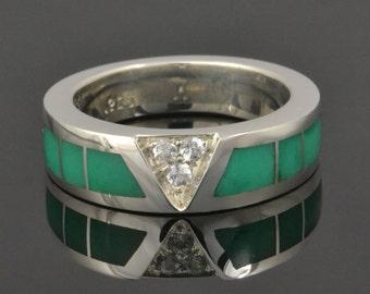 Chrysoprase Wedding Ring  With White Sapphires Set in Sterling Silver - Chrysoprase Ring - White Sapphire Wedding Band