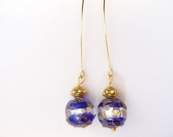 Blue/Gold/Swirly/Round/Glass Earrings