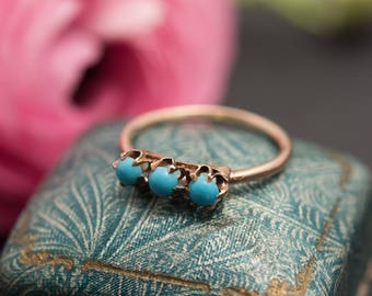 Vintage 10K Gold Persian Turquoise Ring