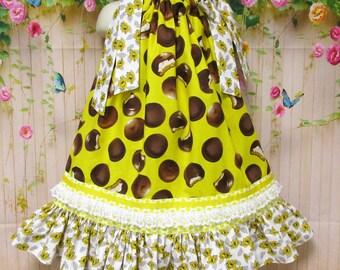 Girls Dress 3T/4T Yellow Chocolate Cookies Pillowcase Dress, Pillow Case Dress, Sundress