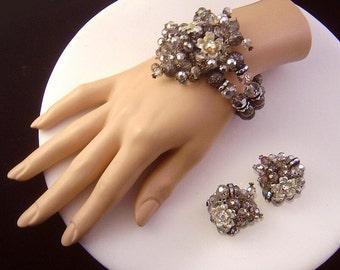 Vintage designer signed HOBE Bracelet and Earrings