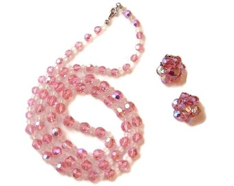 Vintage Pink Aurora Borealis Necklace and clip Earrings