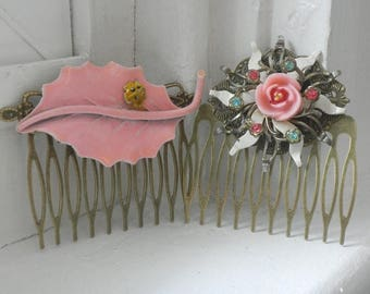5day Mothers Day 20% SALE Vintage Pink Flower and Leaf Assemblage Brooch Hair Combs Set