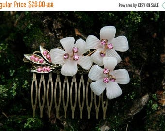 5day Mothers Day 20% SALE White Flower Hair comb, White Orchid Pink Rhinestone Hair Comb, Vintage Brooch Collage