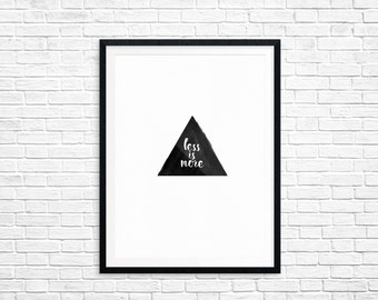 Less Is More • Digital Print • Minimal Black & White Watercolor Art • DIY Home Decor • Printable High Quality Scaleable JPG and PDF • 8.5x11