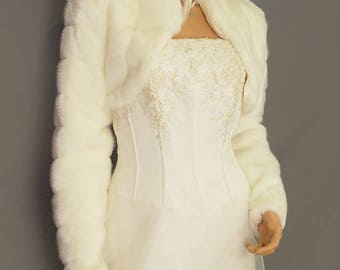 Faux fur bolero jacket in Mink with long sleeves and collar bridal coat, wedding shrug stole wrap FBA103 AVL in ivory and two other colors