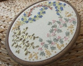 Hand Embroidered Picture on Canvas of Hedgerow Flowers