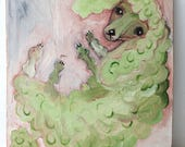 Pale green peppermint poodle painting on reclaimed wood