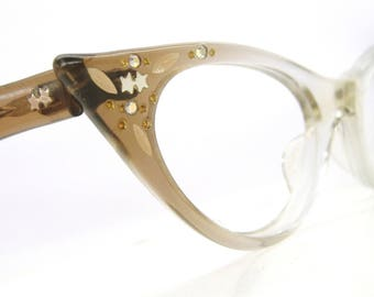 Vintage 50's Cat Eye Glasses Aurora Borealis Rhinestones and Stars Eyeglasses or Sunglasses Frame