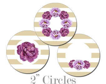 Digital Printable Bridal Shower Cupcake Toppers 2 Inch Circles with Purple Flowers on Gold Stripes CCTB002