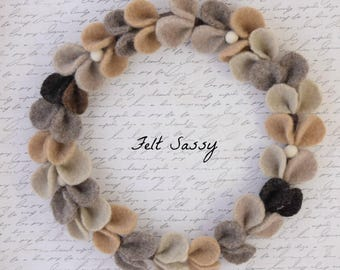 Wire Wreath - Tan - Recycled Wool Sweaters - Felt Sassy