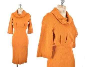 "vintage 50s dress / orange knit wiggle dress / cowl sweater dress/ 1950s hourglass dress .. 26"" waist"
