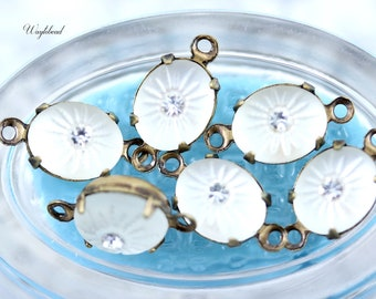 Frosted White 10x8mm Vintage Etched Starburst Oval Connector Drop Set Stone Closed Back Brass Prong Settings - 4