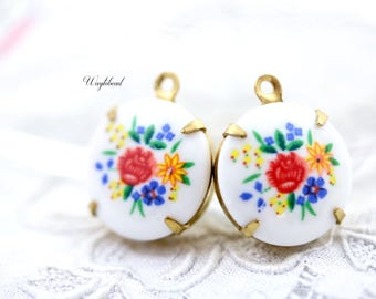 Vintage Round Flower Set Stones Connectors Charms Pendant Floral Settings Red Blue Yellow 15mm - 2