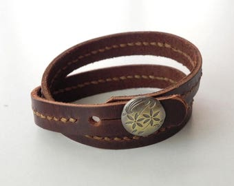 Wrap Leather Bracelet with Metal Alloy Button Hand Stitched in Brown color