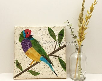 Bird Artwork, Paper, Original, Wall Art, Finch, Mixed Media, Painting, Colorful, Canvas Painting, 8 x 8