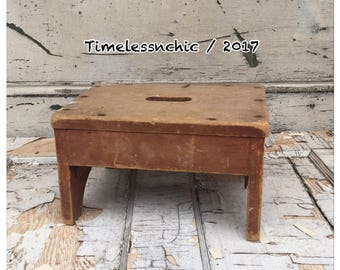 Vintage Step Stool - Wood Step Stool - Foot Stool - Wooden Step Stool - Wood Stool  - Vintage Wood Stool - Wooden Stool - Primitive Stool