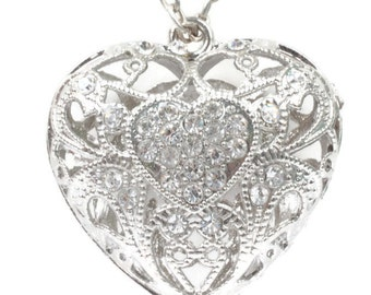 Filigree Heart Pendant Necklace Clear Rhinestones Chunky 28 Inch Chain Vintage