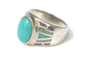 Crushed Turquoise Ring  Multi Gemstone Inset Coleman Black Hills Gold Company Size 9
