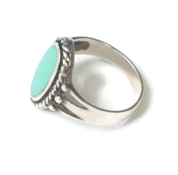 Turquoise Lucite and Sterling Ring Rope Edging Signed Marsala Size 7 Vintage