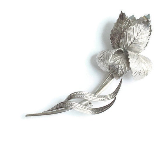 Large Silver Tone Rose Brooch Giovanni Wedding Gift Idea Vintage