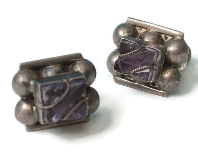 Amethyst and Silver Earrings Screw Back Mexico Vintage