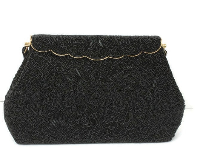 Black Beaded Evening Handbag Purse Hong Kong Vintage