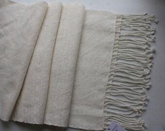 "Handwoven Cream Alpaca Wrap/Shawl -  81""x14.5"""