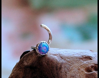 Blue Opal Nose Stud / Nose Ring / Gemstone Nose Ring / Rock Your Nose / Unique Nose Jewelry  -  CUSTOMIZE
