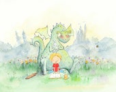 Dragons Love Fairy Tales - Boy with Blond Hair Reading to a Dragon - Art Print