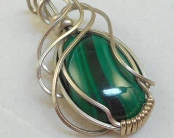 Wire Work Malachite Pendant