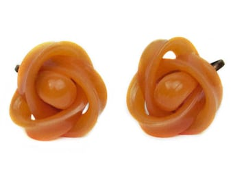 Vintage Beige Celluloid Bakelite Love Knot Screw Back Earrings