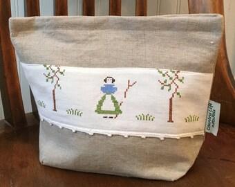 Farmers Wife Organic Linen Sandwich/ Snack Lunch Bag w/Gussets