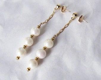 Pearl Drop Earrings- Saltwater Pearls, Gold Filled