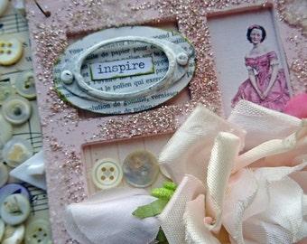 Valentine ornament - INSPIRE - altered acrylic frame - NO025
