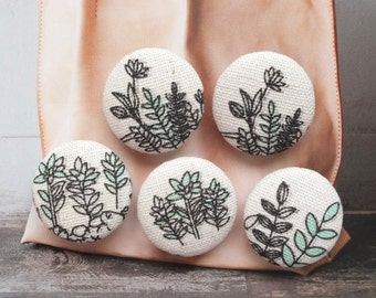 Natural Sketched Simple Black and Mint Floral Plants - Handmade Fabric Covered Buttons(0.98 Inches, 5PCS)