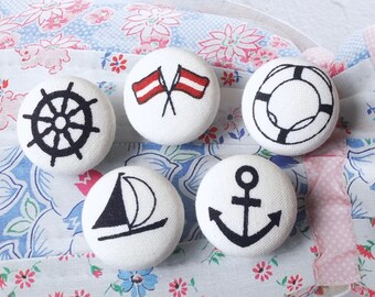 Chic Red Dark Blue Ocean Nautical Marine Anchor Sailing Boat Rudder Flag Collection - Handmade Fabric Cover Buttons(0.75 Inches, 5PCS)