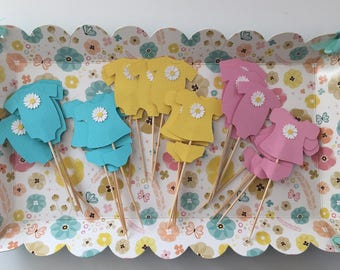 Baby Shower Cupcake Toppers - Bodysuit and Baby Dresses Daisy Theme Baby Shower