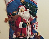 "Handmade Completed/Finished Bucilla Traditional Santa 18"" Christmas felt stocking 86409 with free personalization"