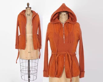 Vintage 70s LEATHER JACKET / 1970s Rust Suede & Sweater Knit Boho Hooded Jacket with Belt